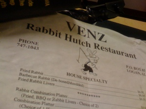 A Treasure from the past: old menu from The Rabbit Hutch Family Restaurant in Logan, AL